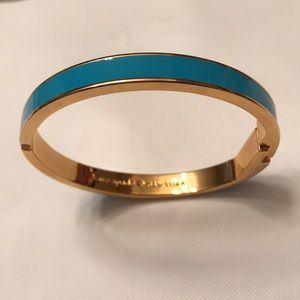 """Kate Spade """"Right as Rain"""" Gold and Blue Bangle"""